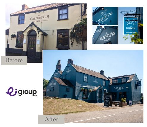 Before and after of exterior decoration at Carpenters tavern